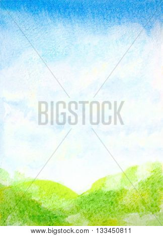 watercolor hand painted landscape illustration with abstract sky clouds and green grass