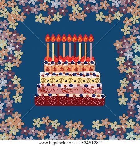 Birthday cake with nine candles. Nine years. A cake with candles for his birthday. Holidays and celebrations