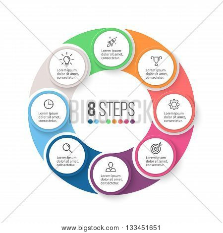Circular infographics. Business diagram with 8 steps. Vector design element.