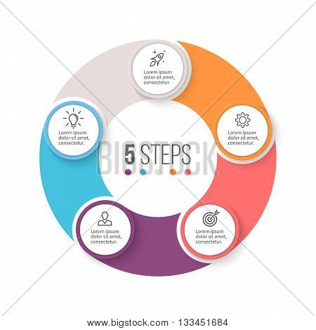 Circular infographics. Business diagram with 5 steps. Vector design element.