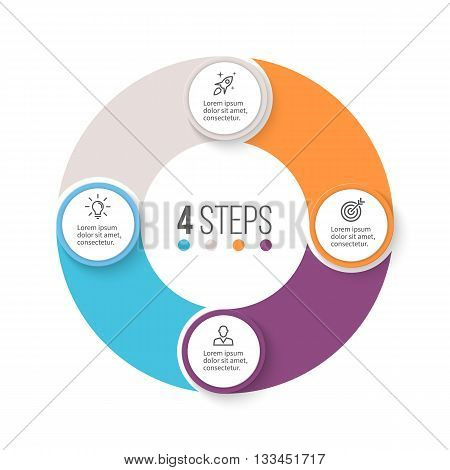 Circular infographics. Business diagram with 4 steps. Vector design element.