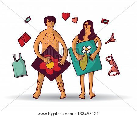 Man and woman couple naked sex relations isolated white. Color vector illustration. EPS8