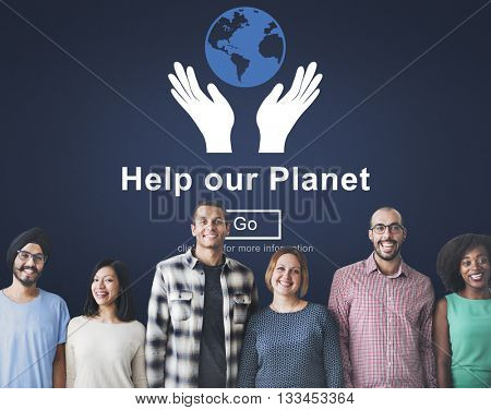 Help Our Planet Environmental Conservation Support Concept