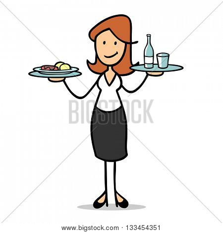 Female cartoon waitress serving food and drinks