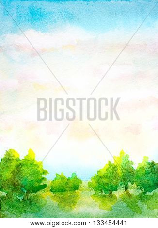 watercolor vertical landscape with sky with clouds trees and green grass