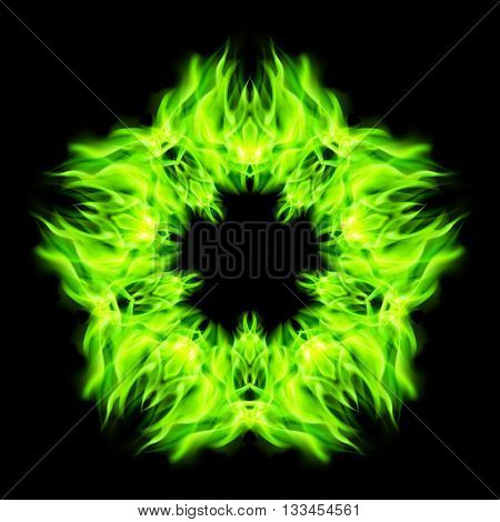 Fire star in green color. Black background