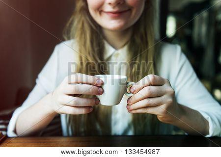 Girl Coffee Caffeine Cheerful Relaxation Cup Mug Concept