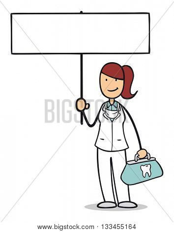 Female cartoon dentist holding up an empty white sign