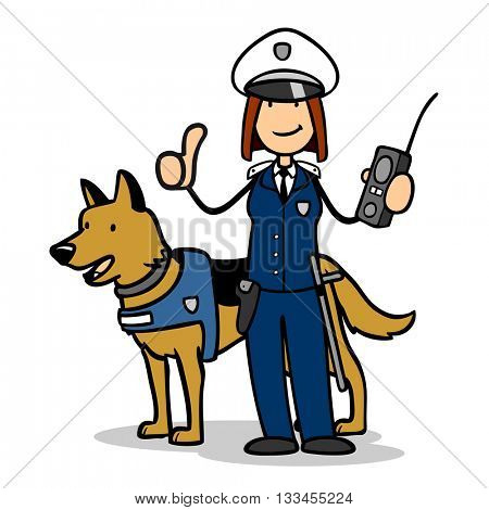 Female cartoon police officer with dog in canine unit holding thumb up