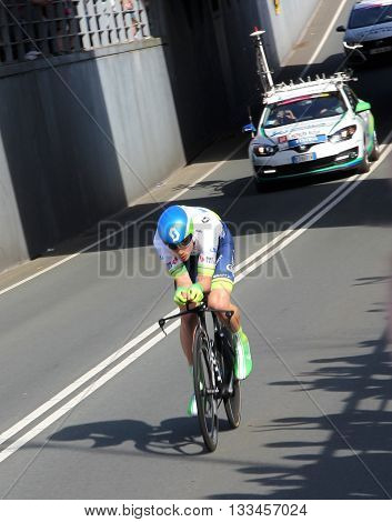 APELDOORN, NETHERLANDS-MAY 6 2016: Michael Hepburn of pro cycling team Orica GreenEDGE during the Giro d'Italia prologue time trial.