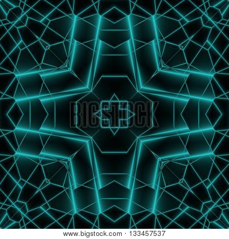 Abstract Neon Glow Geometric Square Design Background