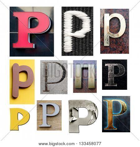 Collection alphabet. Letter P