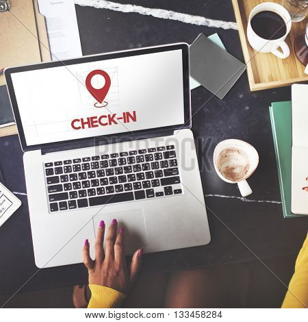 Check In Internet Software Technology Concept