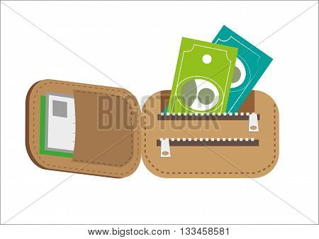 Foldable Brown Wallet with money. Editable Clip Art.