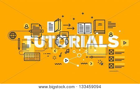 Thin line flat design banner for TUTORIALS web page, online platform with tutorials to acquire knowledge from different fields. Modern vector illustration concept of word TUTORIALS for website and mobile website banners.