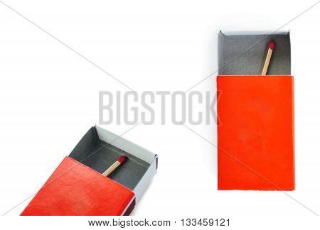 Set of One Wooden unused match in box isolated over the white background