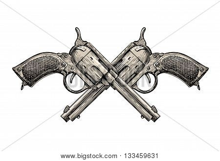 Crossed Revolvers. Vintage guns hand-drawn. Gun, firearms vector illustration