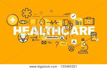 Thin line flat design banner for HEALTHCARE web page, medical support, healthcare insurance, diagnosis and treatment. Modern vector illustration concept of word HEALTHCARE for website and mobile website banners.
