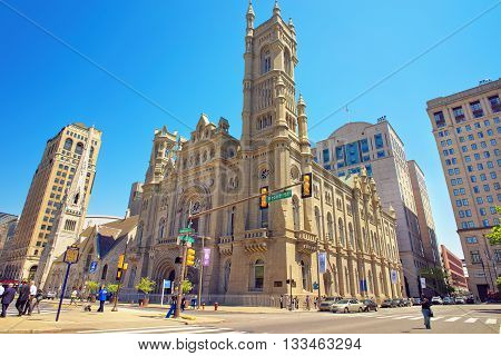 Masonic Temple And Skyscrapers In The Old City Of Philadelphia