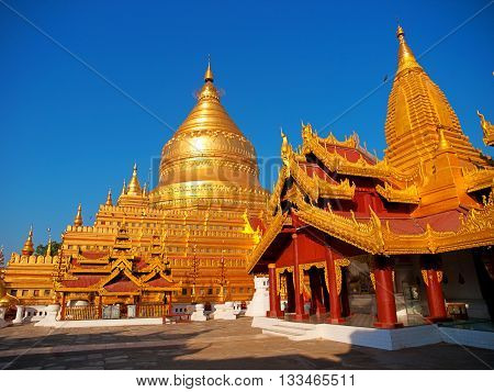 Shwezigon Pagoda is one of the biggest religious places in Bagan Myanmar