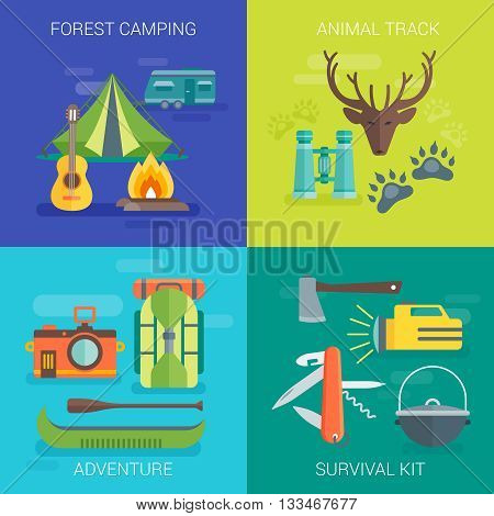Tourist camping flat compositions with living in forest animal track summer adventure survival kit isolated vector illustration