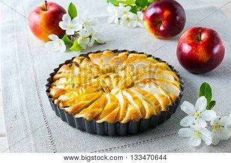 Apple pie and apple blossom on the linen napkin. Homemade apple cake. Sweet pastry. Homemade dessert. Apple pie.