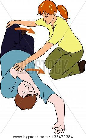 First aid, help - tumbling unconscious man. Vector