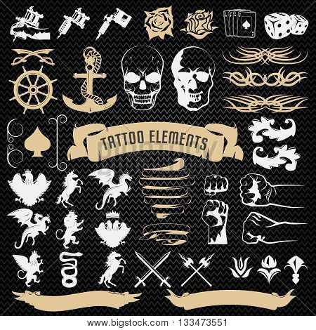 Tattoo elements decorative icons set with edged weapon mythological animals on black textural background isolated vector illustration