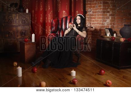 Beautiful Witch In A Black In The Dark Gothic Interior