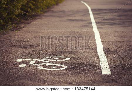 Symbol Of Bicycle Lane Drawn On The Asphalt