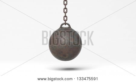Metallic rusty wrecking ball on chain, isolated on white background. 3D rendering