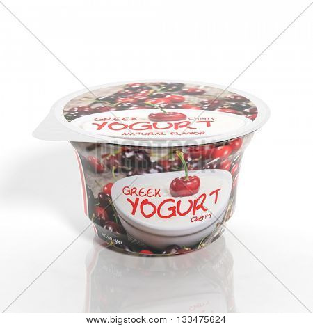 3D rendering of  Cherry Yogurt plastic cup packaging, isolated on white background.