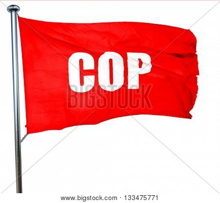 time, 3D rendering, a red waving flag