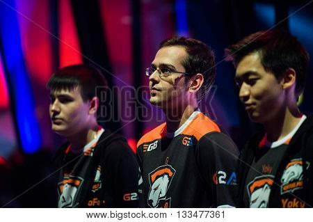 MOSCOW, RUSSIA - MAY 14 2016: EPICENTER MOSCOW Dota 2 cybersport event. Team Virtus Pro on the stage. Players yoky god nofear