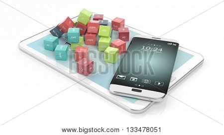 3D rendering of cubes with domain names, with tablet and smartphone, isolated on white.