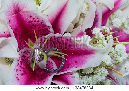 Wedding rings on stamen area of bright pink fuschia lily flowers.