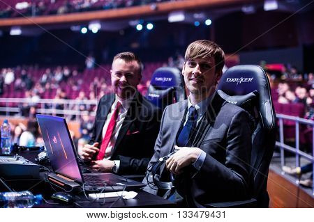 MOSCOW, RUSSIA - MAY 14 2016: EPICENTER MOSCOW Dota 2 cybersport event. English casters place. Capitalist and Purge
