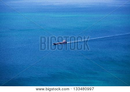 Cargo Ship Sailing In The Atlantic Ocean