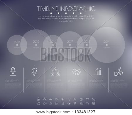 Timeline Circles Infographic. Flat Vector Design Template.