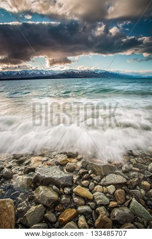 Lake Pukaki is a glacial lake that has become famous for its milky-blue color and as the foreground to Mount Cook.