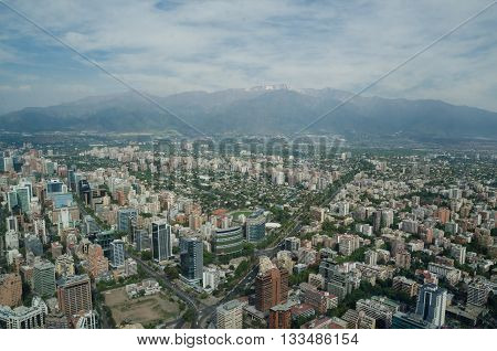 Santiago De Chile, Chile - November 15, 2015: Santiago De Chile Aerial View From Sky Costanera, Sant