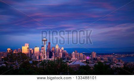 Space Needle and skyline at sunset in Seattle Washington USA