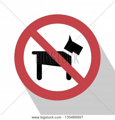No Dogs Sign. No dog sign vector illustration. Not Dog sign vector. All in a single layer. No Dogs Sign Elements for design. No Dogs Sign with Long Shadow.