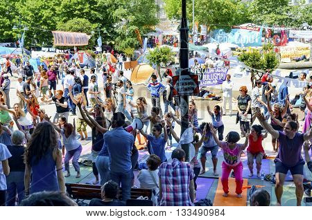 Istanbul Turkey - June 9 2013: It has started action against the construction of a shopping center instead of cutting trees in Gezi Park in Istanbul. A wave of demonstrations and civil unrest in Turkey began on 28 May.
