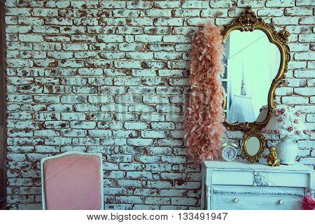 Retro Interior Room With Brick Wall