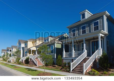 Street of new residential houses with porches