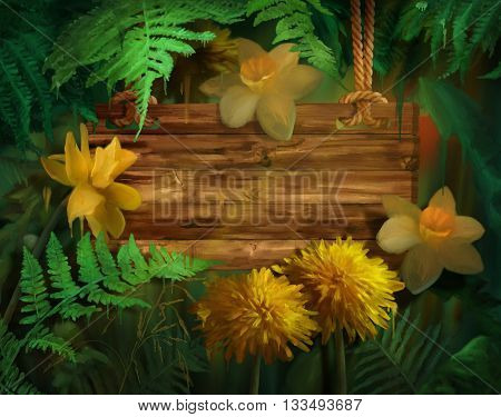 Watercolor flowers with paint drips. Floral digital painting. Wooden signboard hanging on a rope Daffodils, Dandelions under the fern leaves