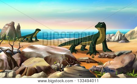 Komodo dragon (Varanus komodoensis) walks along a beach on the southern coast of Rinca Island Indonesia. Digital painting full color cartoon style illustration.