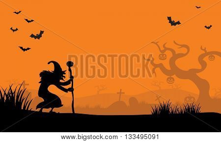 At afternoon witch and bat Halloween with orange backgrounds