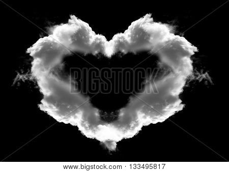 Heart shaped cloud with wings isolated over black background